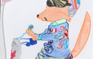 バイクに乗るカンガルー - クルミ