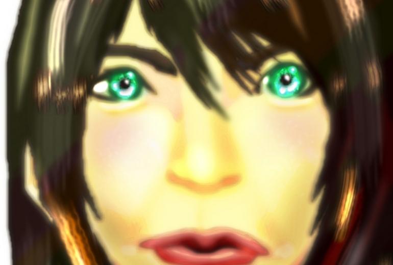 緑色の目をしたアヒル口の女