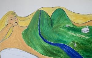 インターラーケンの女性(大自然の山)の滝と釣りをする俺 - 大野貴士