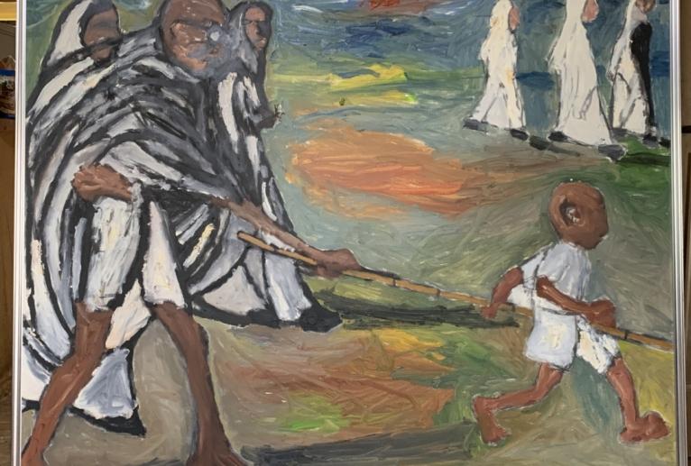 シスター達と海岸を歩くマハトマ・ガンジー - 大野貴士