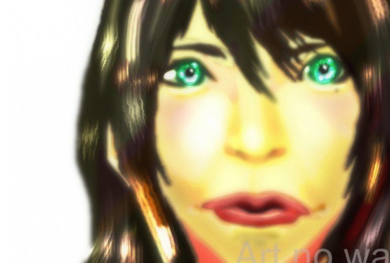 緑色の目をしたアヒル口の女2