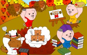 「日本昔話&世界の童話セレクション」11月それぞれの秋の楽しみ方~3匹のこぶた~ - 子猫