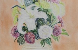 大きめな花瓶に挿した花 - 三日月 克年