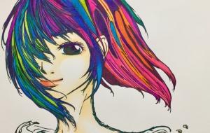 風を感じる女(色彩) - ふにゃくし