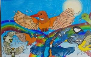 水しぶきの虹と色とりどりの小鳥たち - SAYAKA