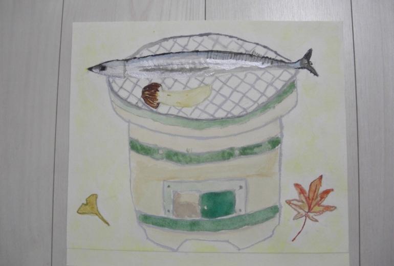 七輪と秋刀魚