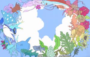 12色相環with魚&植物 - 井上 桃香