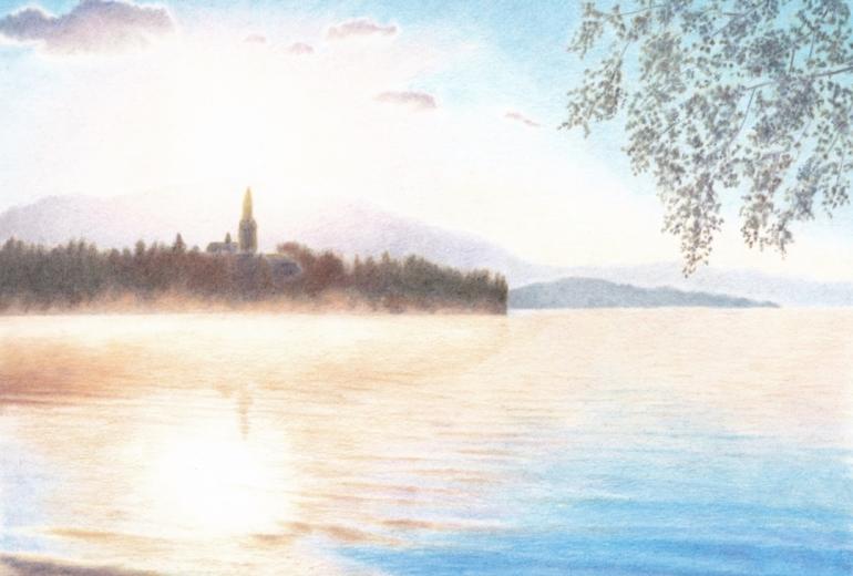朝焼けの湖