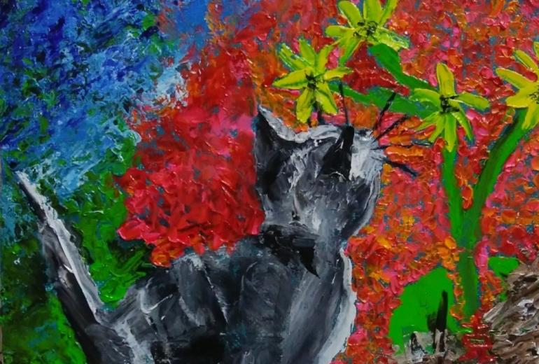 夕日に咲きゆく華と猫