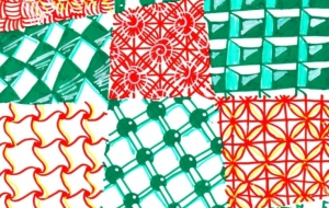 ゼンタングル12のパターン - 虎目梨那