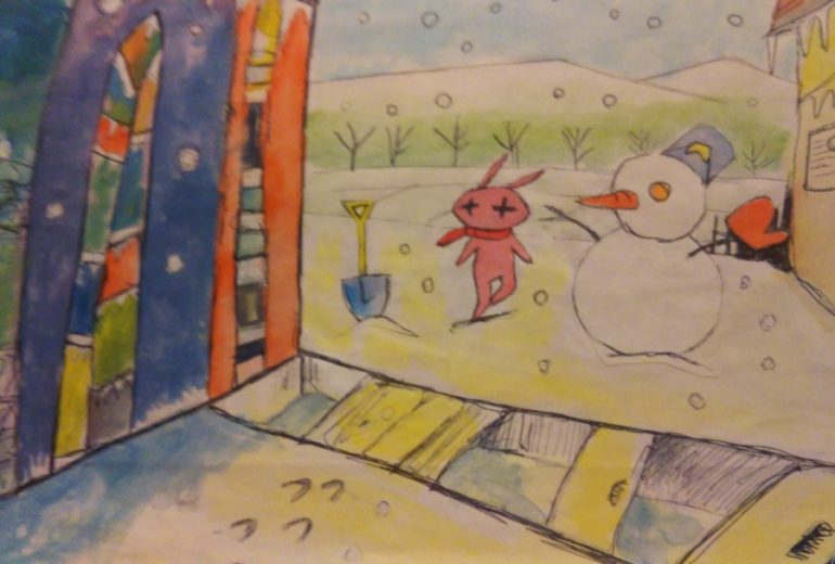 ポポリと雪だるま、まちの一角。