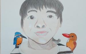 自画像と肩の上のカワセミ - SAYAKA