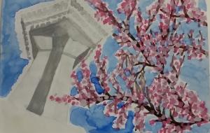 五稜郭タワーと桜 - おひさま