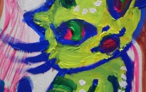 ピンクの山を背景にした、お洒落な虎猫。 - ワタリドリ