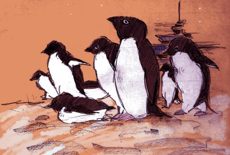 ペンギンは上を向く