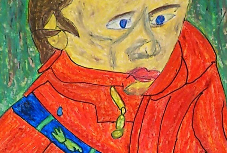 赤いジャケットの人物