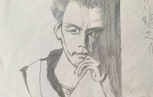 鉛筆画芥川龍之介の肖像画 - 大野貴士