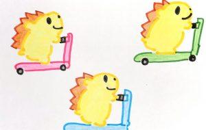 ハリネズミとスクーター - クルミ