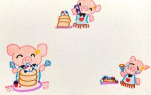 ぶたとホットケーキ - クルミ