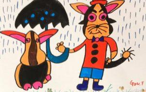 雨の日の猫と兎 - 田中郷