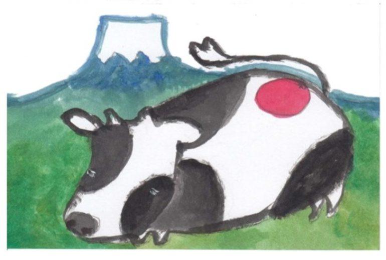 富士山と牛