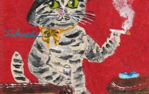 タバコを嗜む猫ちゃん - 阿部貴志