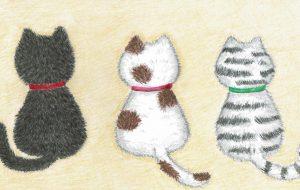 三匹の猫の後ろ姿 - かいこ