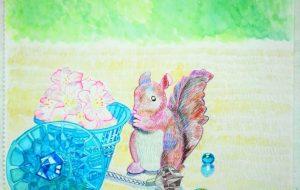 ブルー玉と食いしん坊のりすぽん - fantastic  苺花
