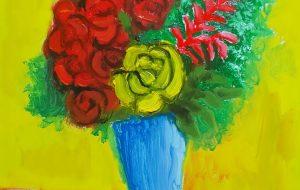 黄色い背景の花瓶 - 阿部貴志