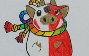 虹をまとったかわいい子牛 - SAYAKA