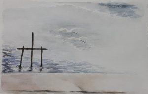 川辺の白鷺 - 笈川千代