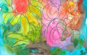 向日葵と薔薇の花瓶 - 阿部貴志