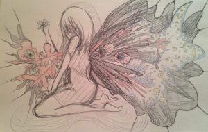 黒い翼を持った生き物が背中を蹴破って出てくる - kana