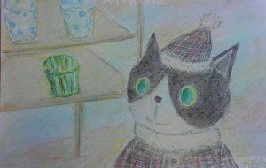 ガラスコップを見る猫 - かいこ