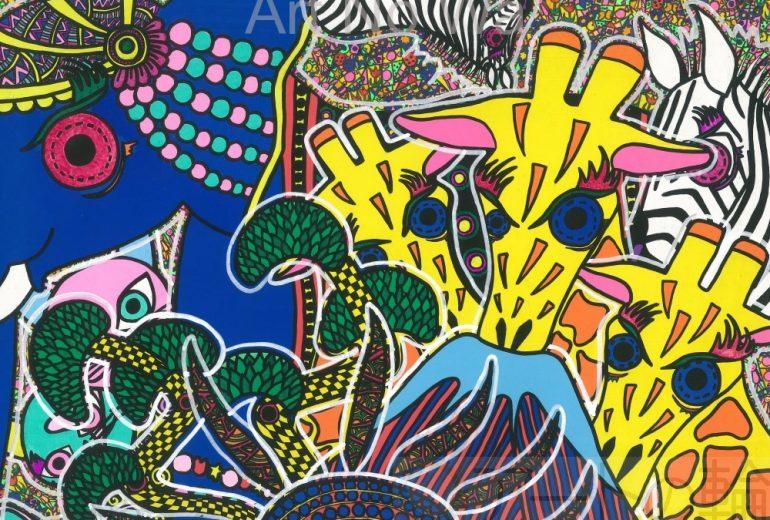 キリンと富士と再生の神のゾウ