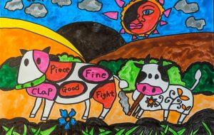 二匹の牛と日の出 - 田中郷