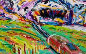 アルプスの風景 板にアクリル - TAKATO