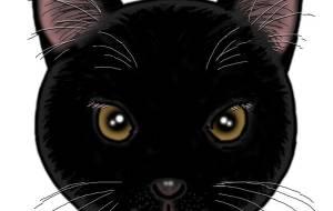 耳カット黒猫 - ikura