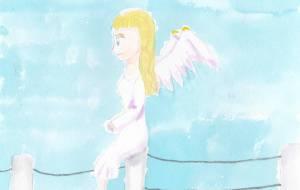 くつろぐ天使 - 空飛ぶクジラ