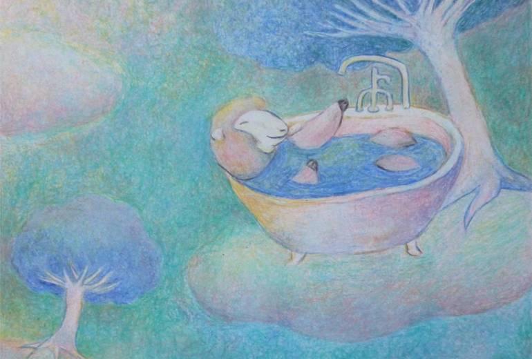 水色の世界の羊