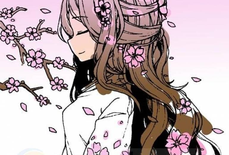 桜が、まい、桜の髪飾りの少女