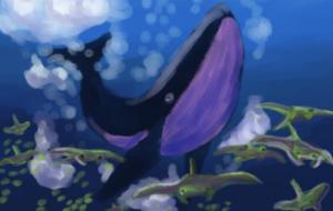 クジラとエイ(暗め) - ぽこ