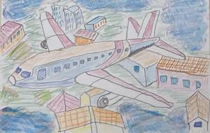 飛行機と街並み - 長尾 達彦