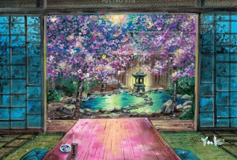 夜桜を愛でる
