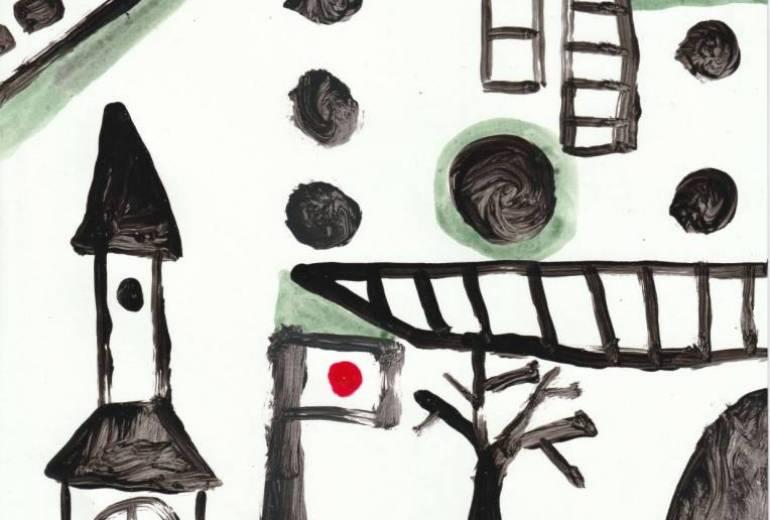 日本国旗のある構成