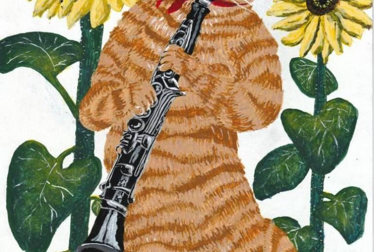 クラリネットを吹く猫と向日葵