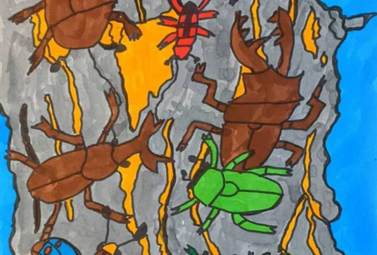 木に群がる虫たち