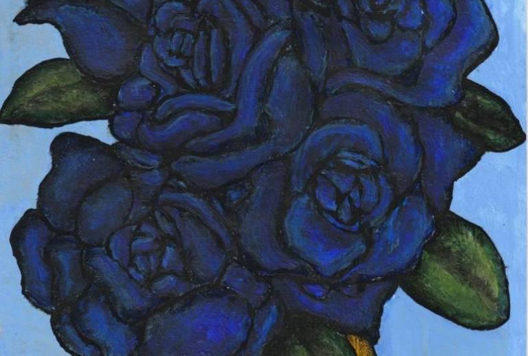 黄色の花瓶の青い薔薇