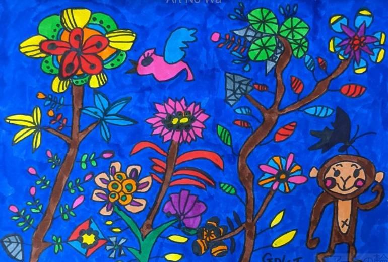 木々、花、動物