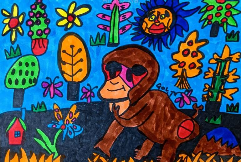 子猿の散歩